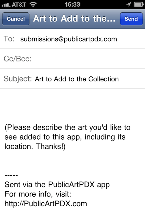The email template for submitting art to add to the app
